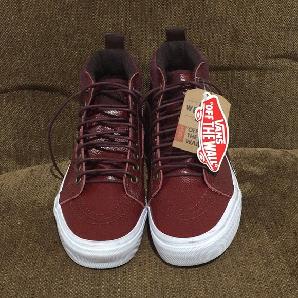 Nwt Vans Rare Red Luxury Leather Shoes